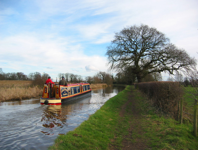Canal boat in winter