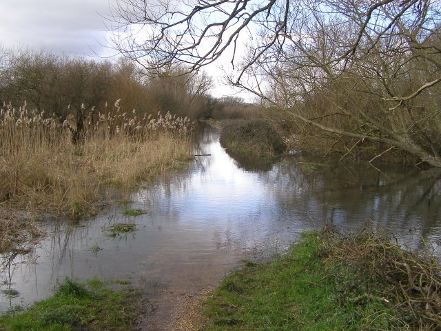 Flooded Test Way footpath to Ruddy Mead