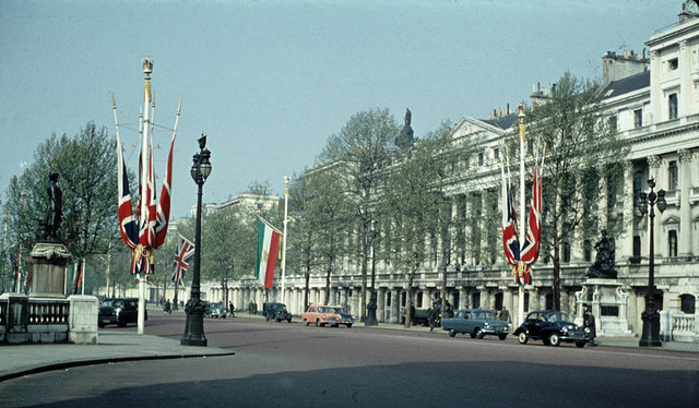 The Mall decorated for the visit of the Shah in 1959