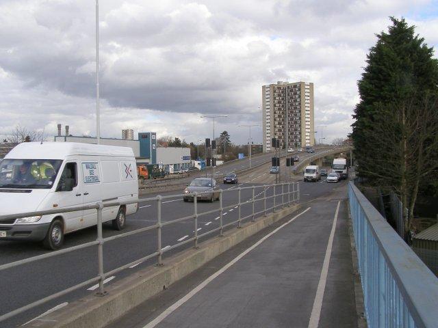 Redbridge Flyover from Redbridge Causeway
