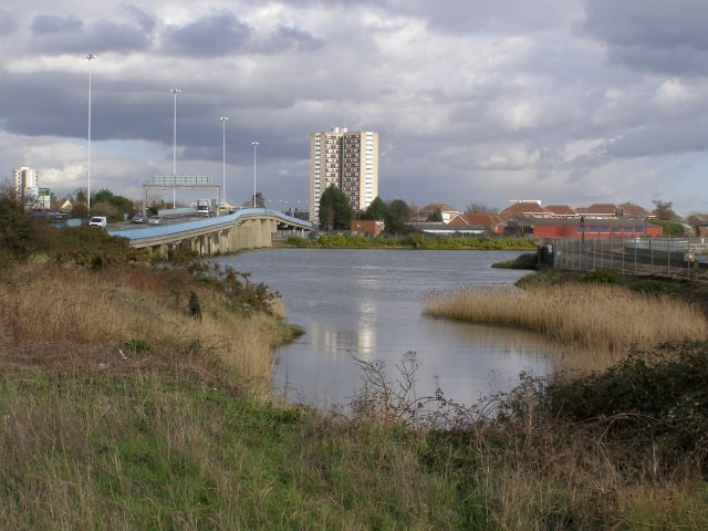 View across the River Test towards Redbridge