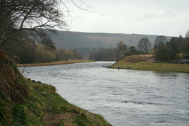 A salmon angler fishing  the Brock pool from  Wester Elchies.