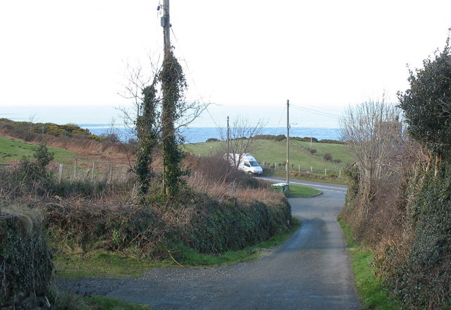 View down the minor road to the A499