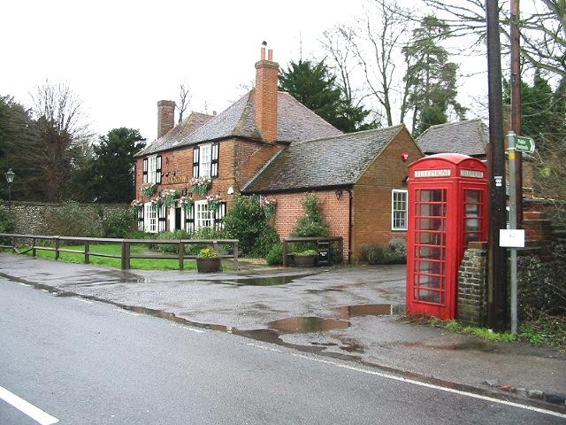 The Jackdaw Inn and telephone kiosk, Denton