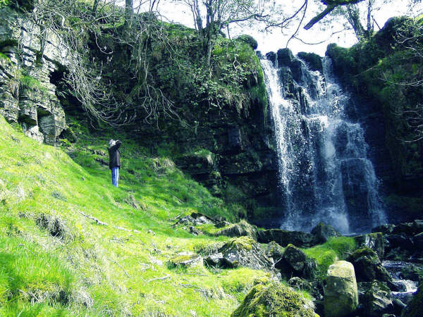 The Great Ghyll waterfall on West Scrafton Moor