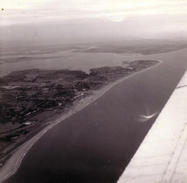 Hayling Island from the air, 1976