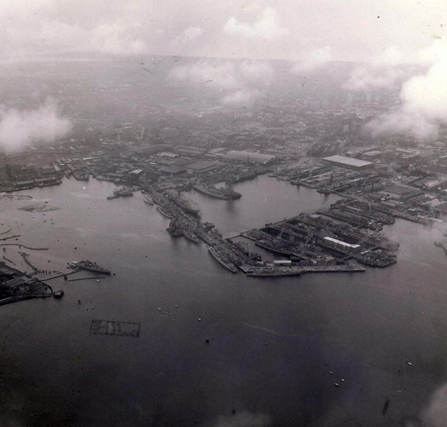 Portsmouth Naval Dockyard from the air, May 1976.