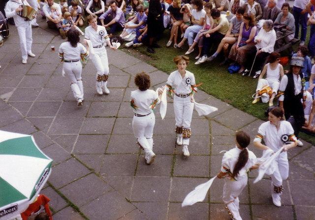 Morris Dancers, South Hill Park Bracknell, 1986.