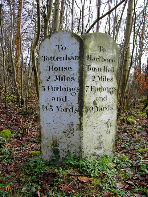 Milestone at entrance to Charcoal Burners Road, Savernake