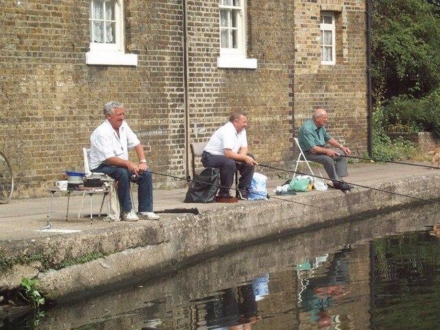 Three fishermen, Old Ford Lock, East London
