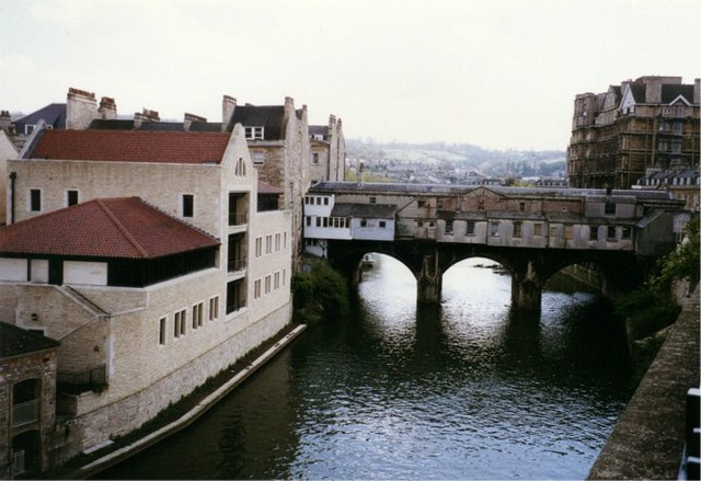 North facing view of the Pulteney Bridge over the Avon at Bath