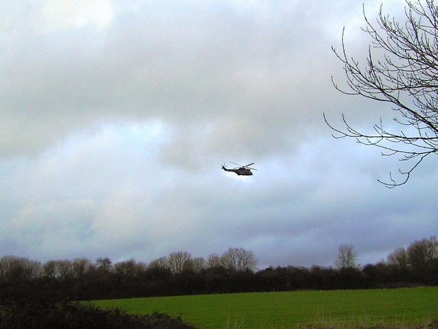 Helicopter, near Wootton Rivers, Wiltshire