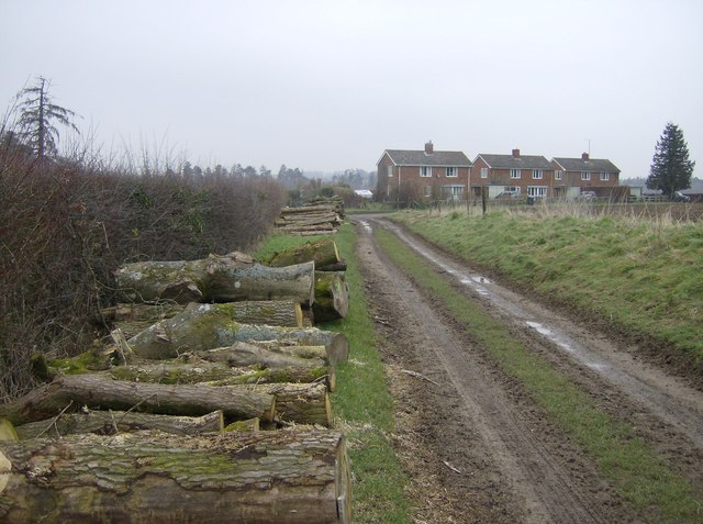 Farm track and farm cottages