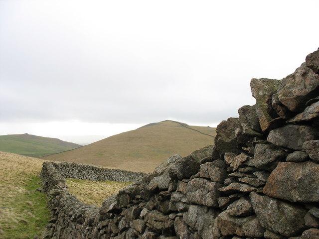 Farm boundary wall on the summit of Gyrn Goch