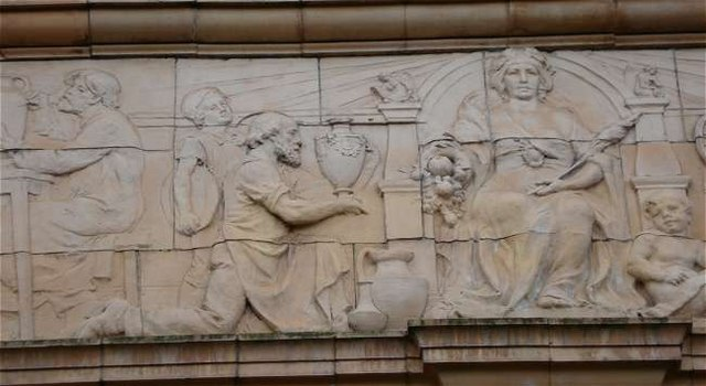 Panel above entrance to Sutherland Institute, Longton