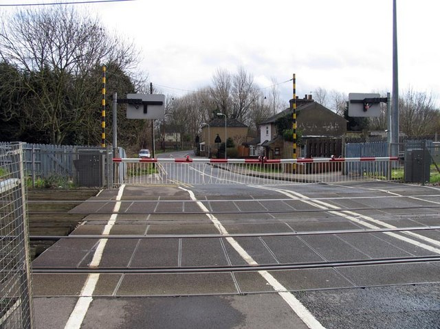 At Cheshunt Station crossing, Herts - Gates closed