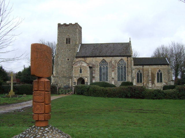 Village Sign and Church, Ashwellthorpe