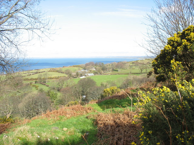 The farmland of Tyddyn Hen from the green lane