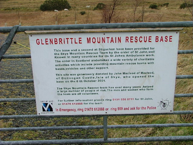 Sign at Glenbrittle Mountain Rescue Post