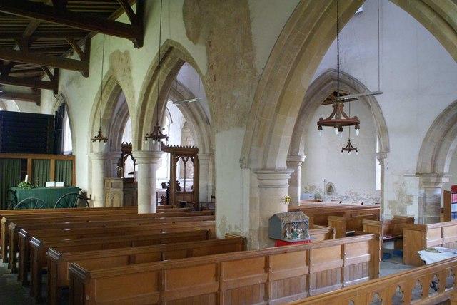 The interior of St Leonard's Glapthorn