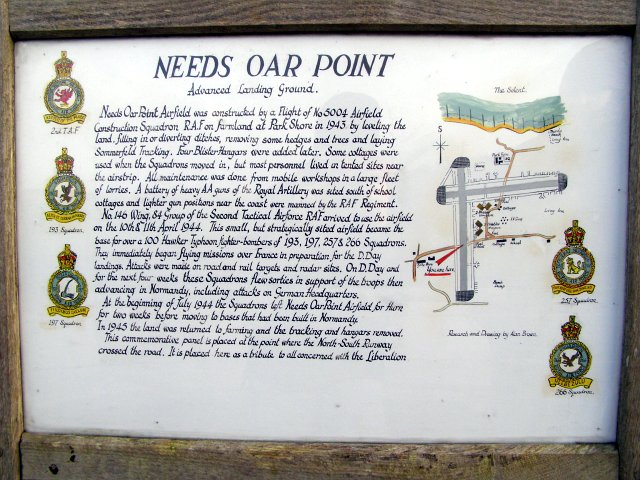 Commemorative panel at the site of Needs Oar Point airfield, Beaulieu Estate
