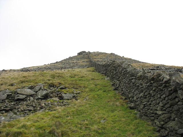 View upwards along the farm boundary wall