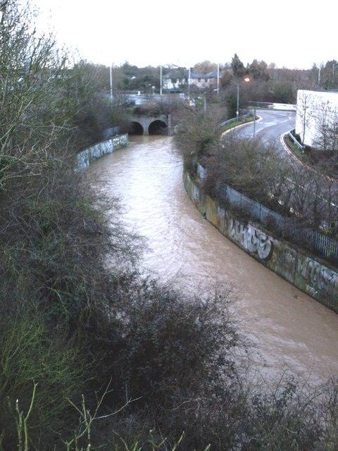 Upstream from the footbridge