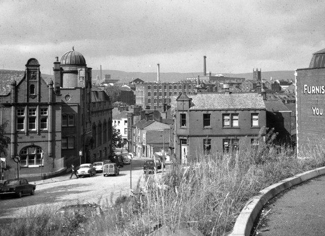 View down Church Lane, Rochdale, Lancashire