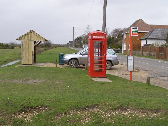 Bus stop, shelter and telephone call box, East Boldre