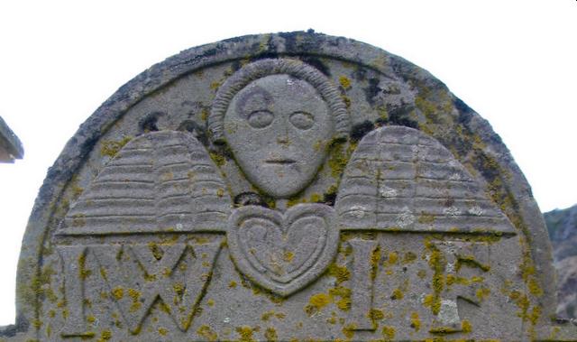 Winged soul on 18th century gravestone; St Cyrus