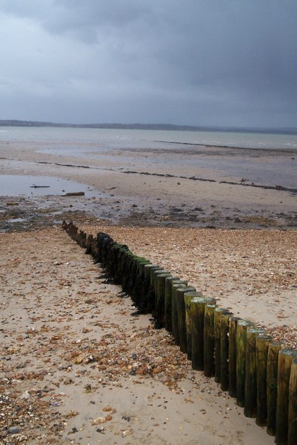 Beach at Lepe viewing groynes and IoW in background