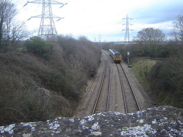 Train on the Gloucester to Cardiff line, at Portskewett