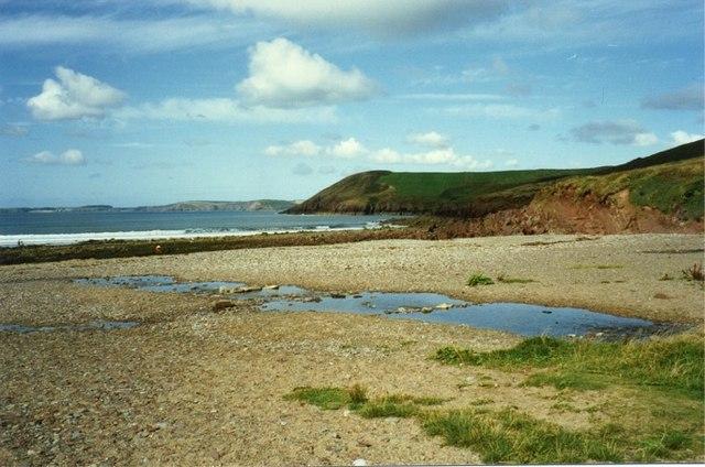 Shingle beach at Manorbier Bay, Pembroke