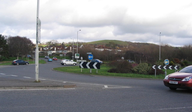 The Crown Roundabout, A35 at Bridport.