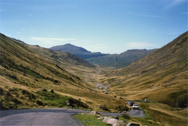 Road on Wrynose Pass leading down to Wrynose Bottom
