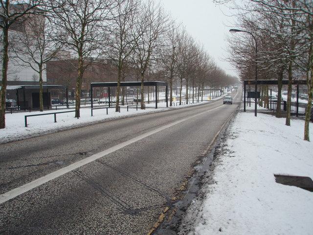 Silbury Boulevard in the snow