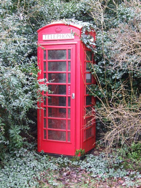 Overgrown red telephone box, Taverham