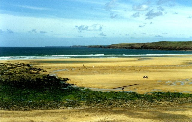 Huge expanse of the bay at Freshwater West exposed at low tide
