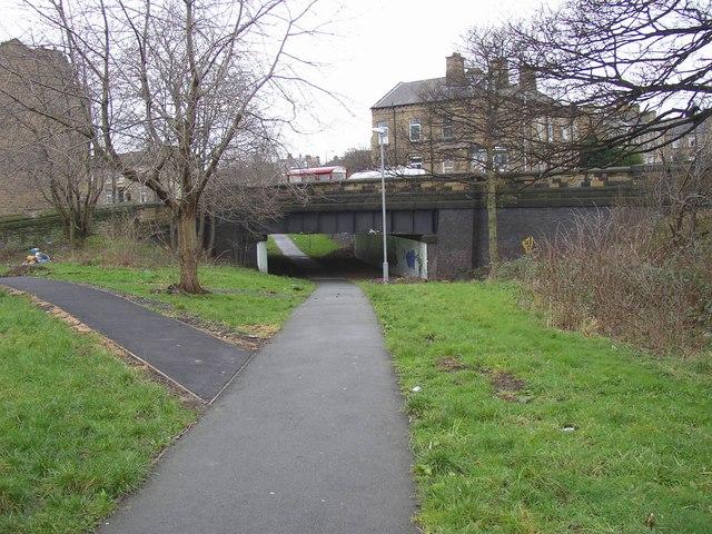 The Bradford Road bridge, Fartown cycleway, Huddersfield