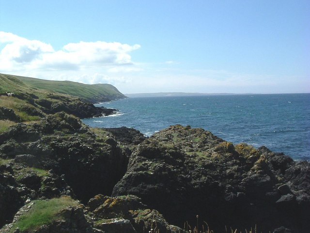 View towards entrance to  Loch Ryan ( wild goats on hillside )