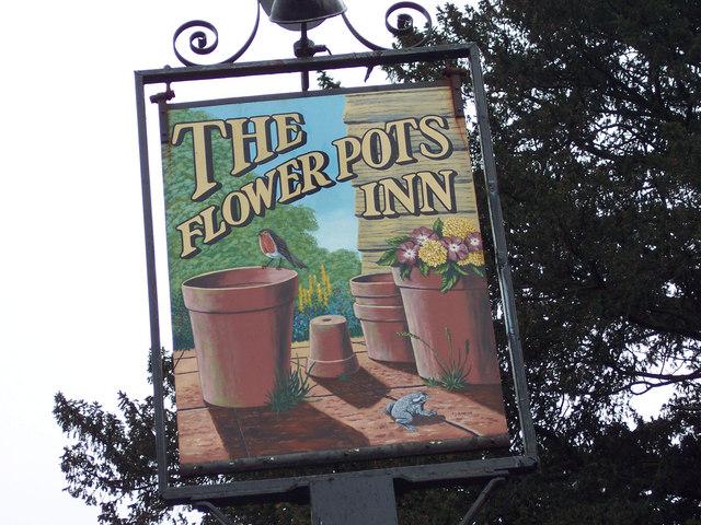 Sign for the Flower Pots Inn, Cheriton