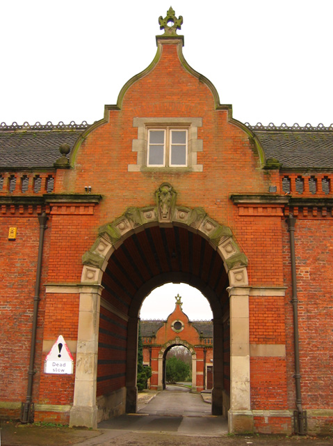 Crewe Hall: archway in former stable block