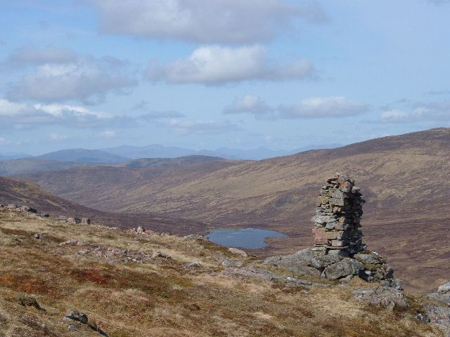 Cairn on northern ridge of Beinn a' Chaorainn