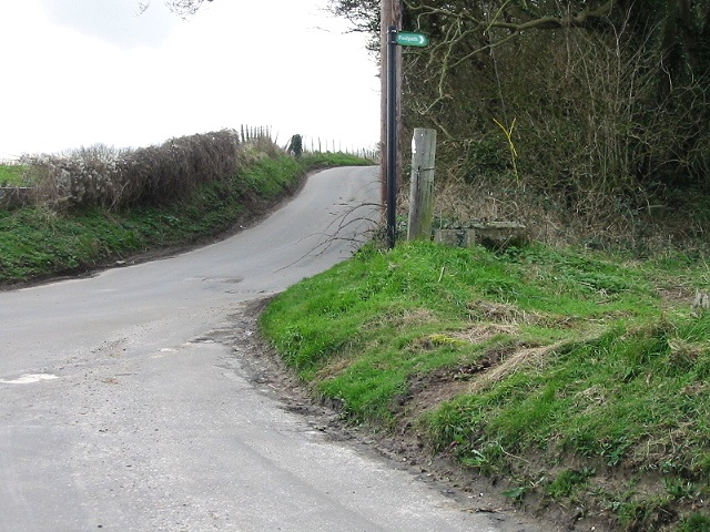 Road junction and footpath at Martin Firs