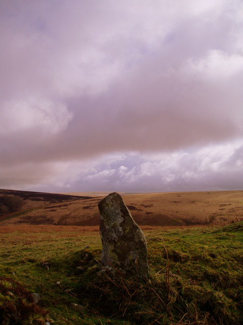 Standing stone above Badgworthy Water