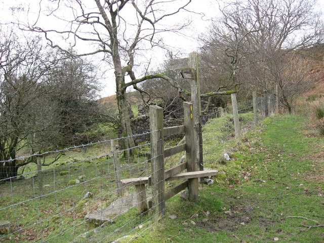 Stile at crossing of public footpaths at Pen-cribarth