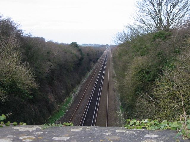 Looking NE along railway line at Guston