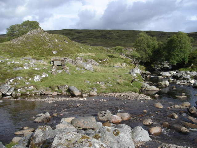 Confluence of Glenmarkie Burn and Allt Cam Ban