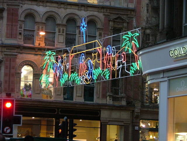 Christmas lights over Corporation Street