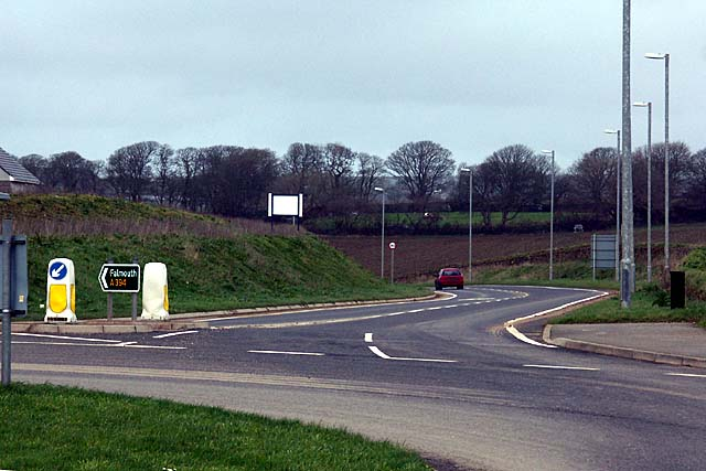 Road junction on the new Helston By-Pass